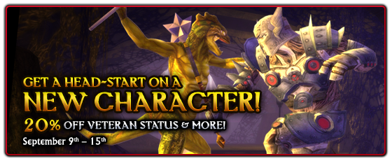 20% off Character Slots, Veteran Status and Warforged Race